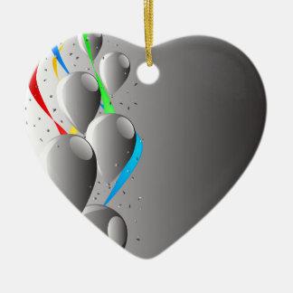 Grey Party Ceramic Heart Decoration