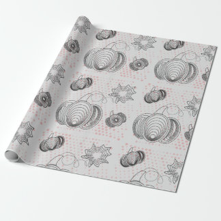 Grey pattern with black pumpkins, pink splashes wrapping paper