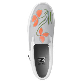 Grey Peach Floral Motif Shoe