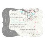 Grey Peachy Pink Minty Aqua Love Bird Wedding Personalised Invites