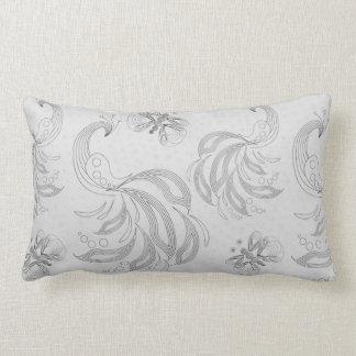 Grey peacock seamless pattern with halftones lumbar cushion
