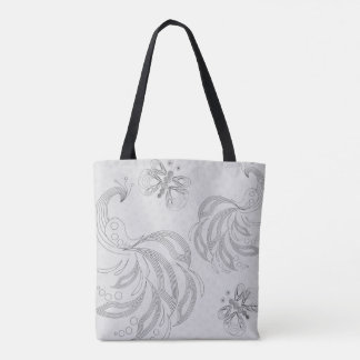 Grey peacock seamless pattern with halftones tote bag