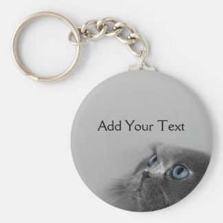 Grey Persian Cat with Blue Eyes on Grey Basic Round Button Key Ring