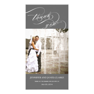 Grey Personalized Script Photo Wedding Thank You Card