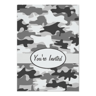 "Grey Pewter Camo Camouflage Party Event 5"" X 7"" Invitation Card"