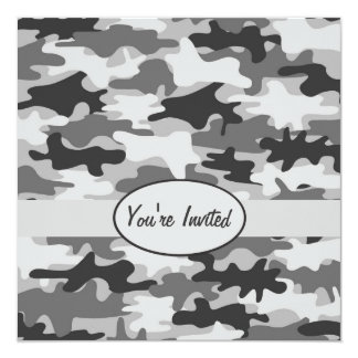"Grey Pewter Camo Camouflage Party Event Square 5.25"" Square Invitation Card"