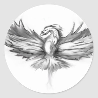 Grey Phoenix Rising Classic Round Sticker