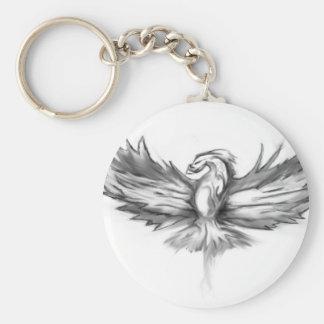 Grey Phoenix Rising Key Ring
