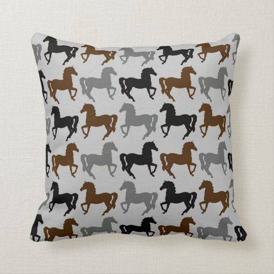 Grey Pillow: Black, Grey, Brown Horses Silhouettes Cushion