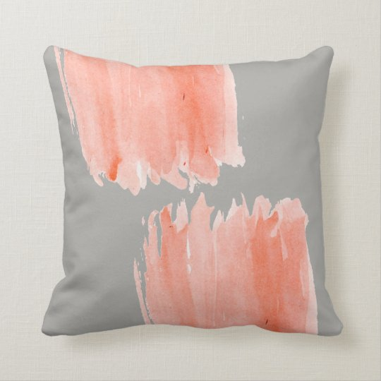 Grey Pillow with Coral Watercolor Pattern