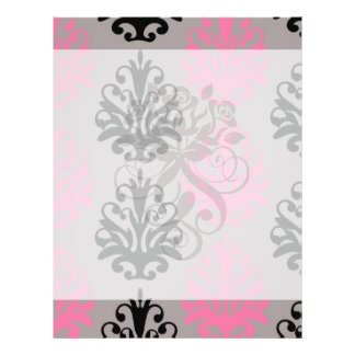 grey pink and black chic damask pattern full color flyer