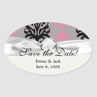 grey pink and black chic damask pattern oval sticker