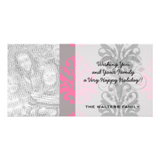 grey pink and black chic damask pattern personalized photo card