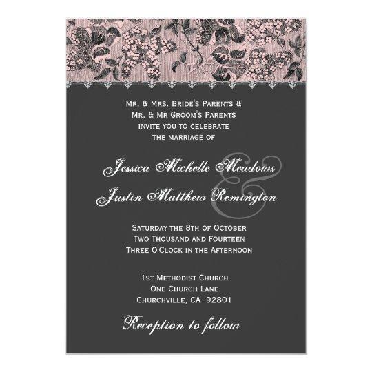 Grey Pink Black Vintage Damask Wedding Template