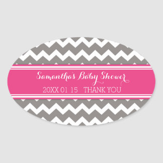 Grey Pink Chevron Baby Shower Favor Stickers