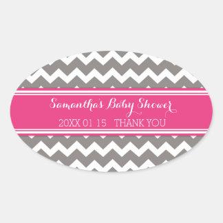 Grey Pink Chevron Baby Shower Favor Stickers