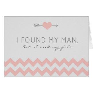 Grey & Pink Chevron Bridesmaid Request Card