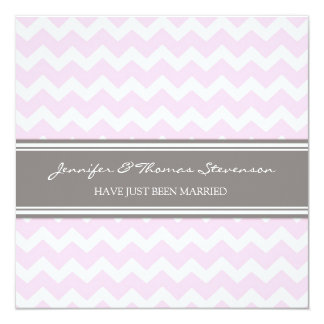 Grey Pink Chevron Just Married Announcement