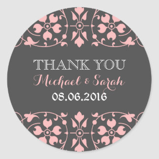Grey Pink Classic Victorian Wedding Sticker