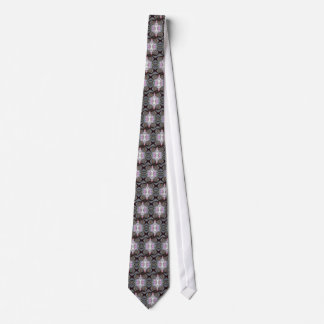 Grey Pink Fence Flowers Tie