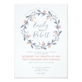 Grey Pink Floral Wreath Modern Wedding Invitation