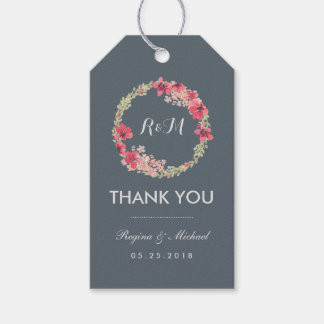 Grey Pink Floral Wreath Wedding Thank You Gift Tag
