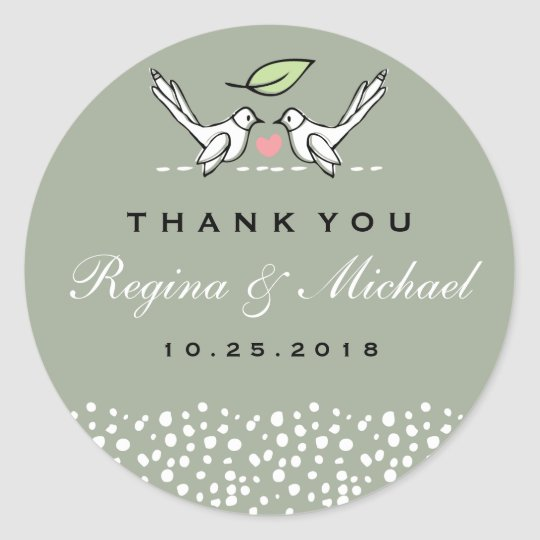 Grey Pink Love Birds Doodle Wedding Favour Sticker