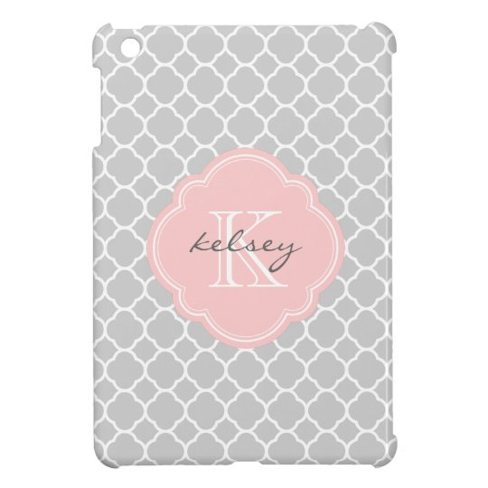 Grey & Pink Modern Quatrefoil Custom Monogram Case