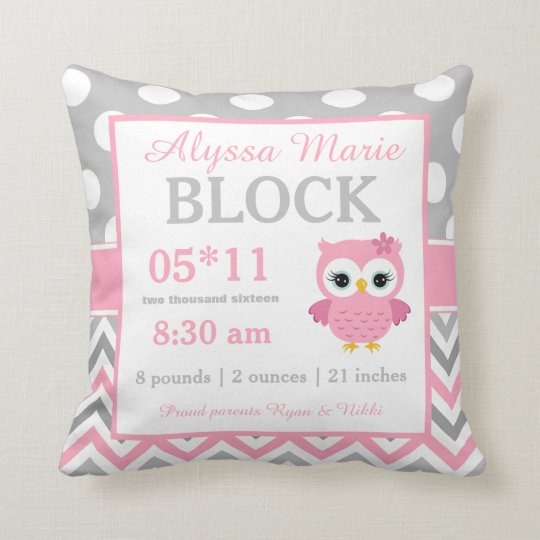 Grey Pink Owl Baby Announcement Pillow