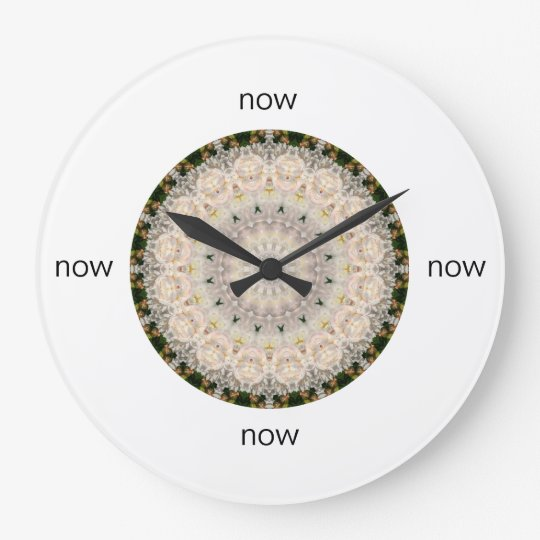 "Grey & Pink Peony Mandala ""Now"" Large Clock"