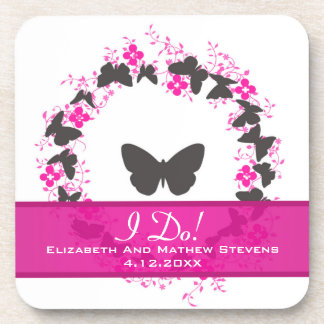 Grey Pink Purple Bouquet Ring Wedding Favors Beverage Coasters