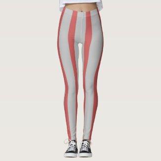 Grey & Pink Stripes Leggings