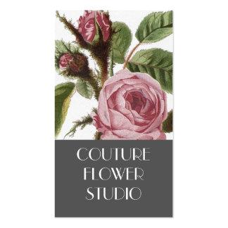 Grey Pink Vintage Rose Florist Business Cards