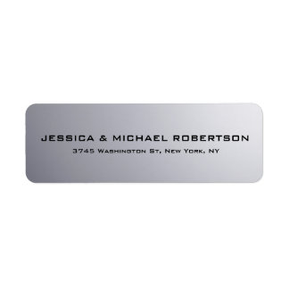 Grey Plain Elegant Modern Trendy Family Return Address Label