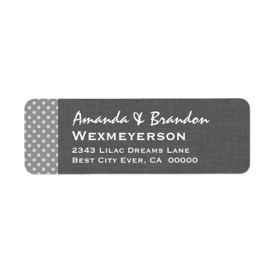 Grey Polka Dot Wedding Collection A2A Return Address Label