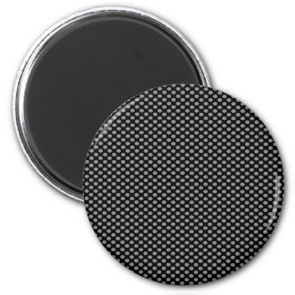Grey Polka Dots on Black 6 Cm Round Magnet