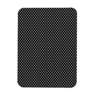 Grey Polka Dots on Black Rectangular Photo Magnet