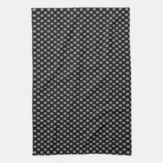 Grey Polka Dots on Black Tea Towel