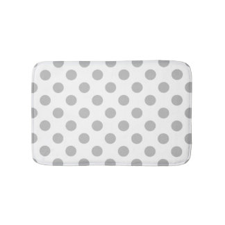 Grey polka dots on white bath mat