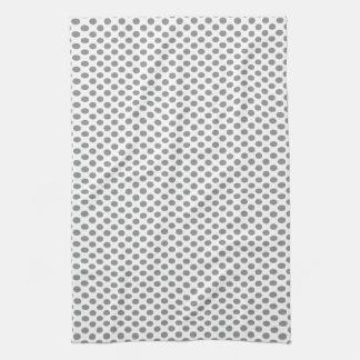 Grey Polka Dots on White Tea Towel