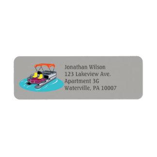 Grey Pontoon Boat Return Address Labels