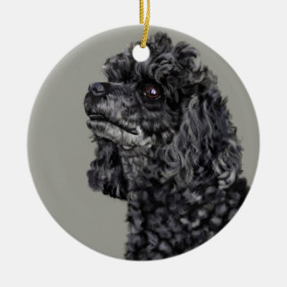 Grey Poodle Christmas Ornament