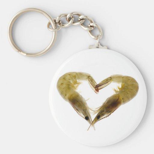 Grey prawns in love keychains