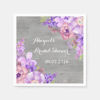 Grey Purle Lilac Floral Bridal Shower Napkins Paper Napkin