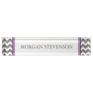 Grey Purple Chevron Desk Nameplate