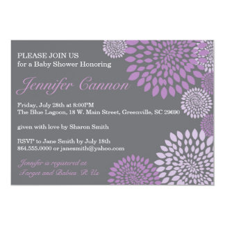 Grey Purple Modern Floral Baby Shower Invitation