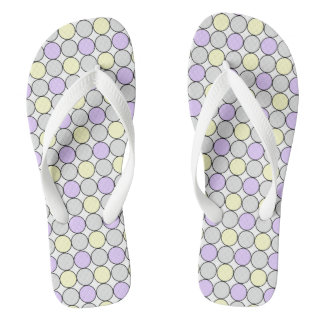 GREY/PURPLE/YELLOW PASTEL DOT FLIP-FLOP FLIP FLOPS