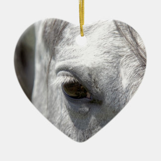 Grey Quarter Horse Stallion Ceramic Heart Decoration