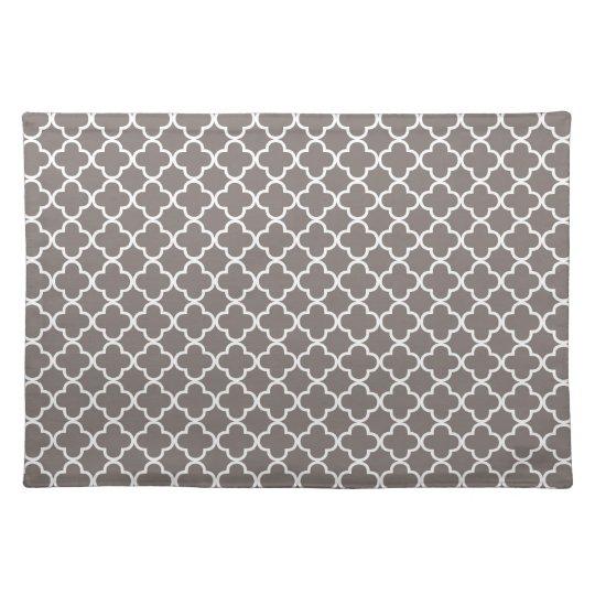 Grey Quatrefoil Clover Pattern Place Mats