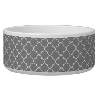 Grey Quatrefoil Custom Dog Bowl